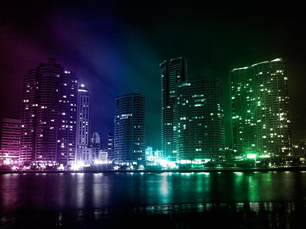 City night lights 3d creative design desktop wallpaper - Night light city wallpaper ...