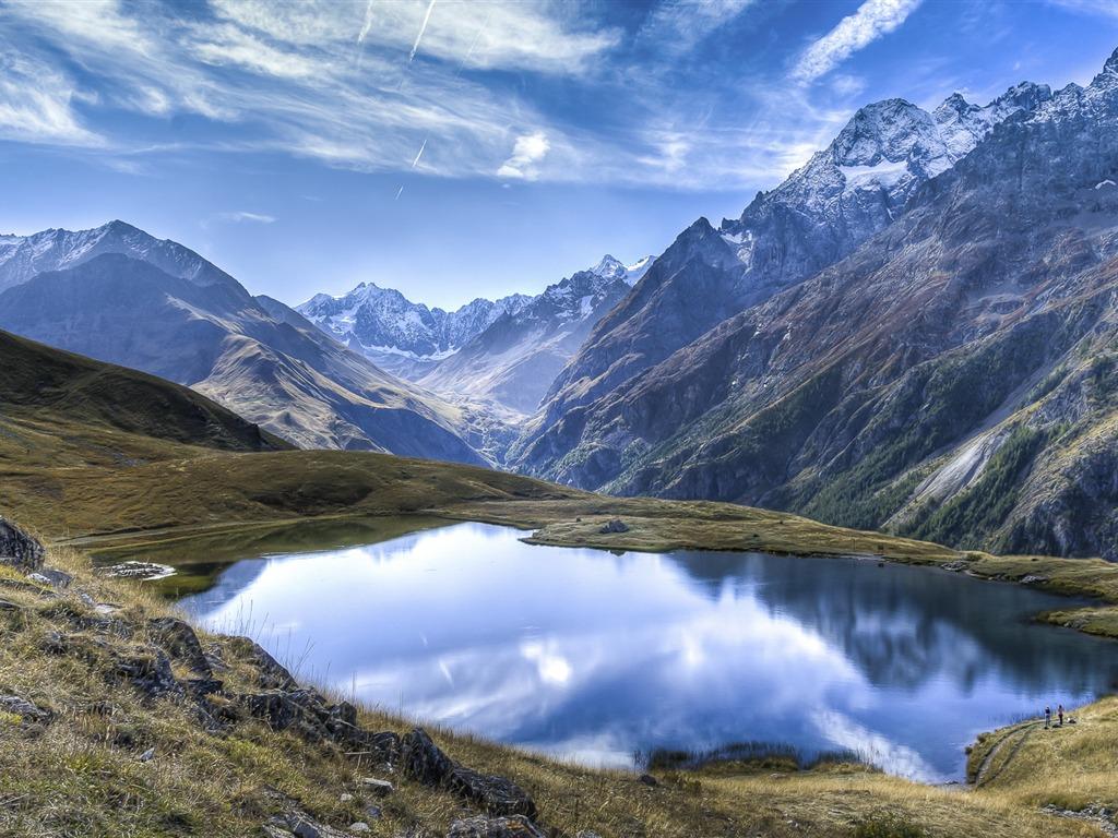 Crystal clear lakes snowy plateau-Windows 10 HD Wallpaper ...