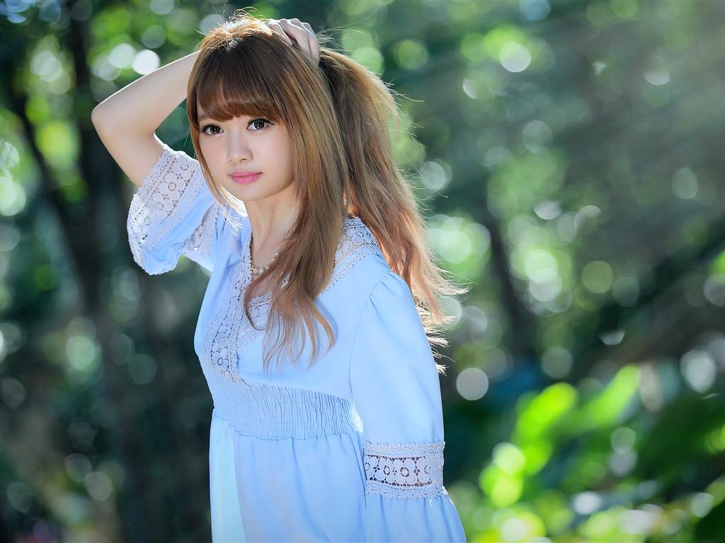 Summer Sunshine Blue Dress Lovely Girl Preview 10wallpaper Com