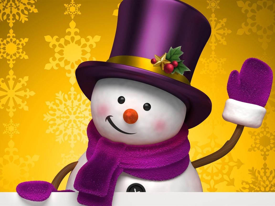 Aesthetic cute snowman Christmas HD computer wallpaper 12