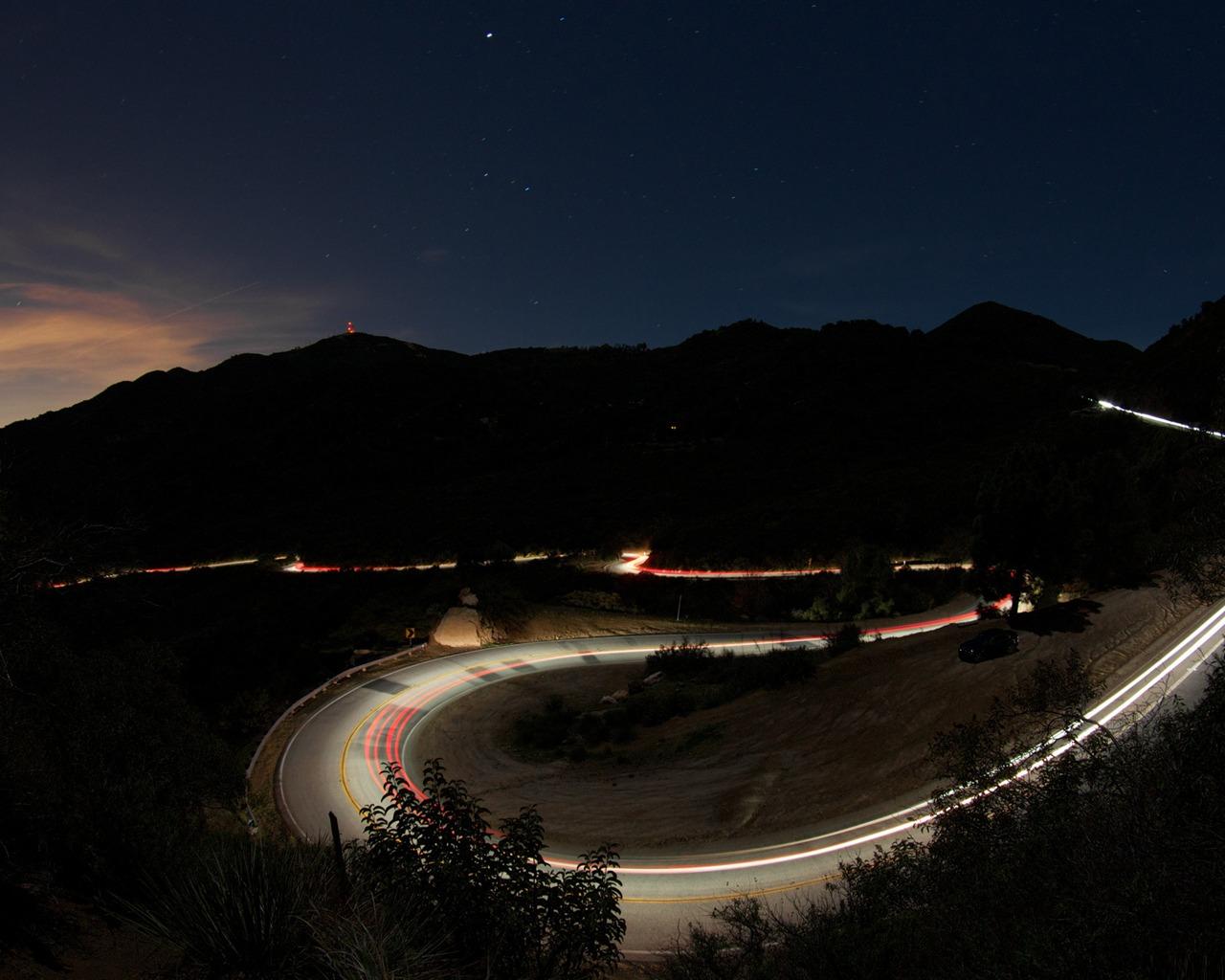 Mountain Road Night Lights Beautiful Natural Scenery