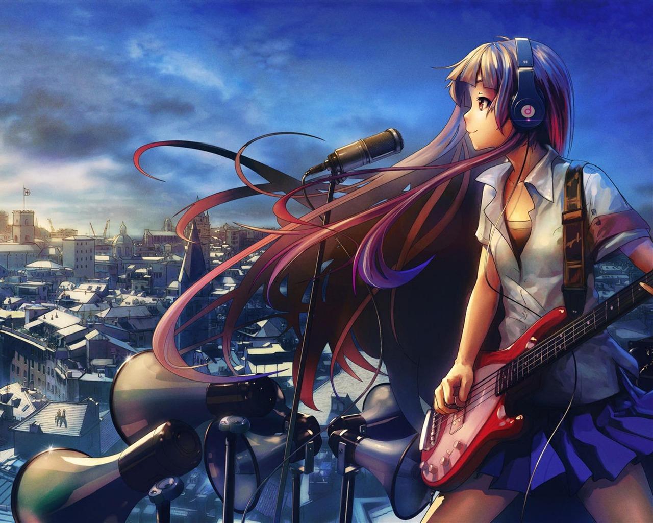 Girl guitar music anime design hd wallpaper 1280x1024 - Anime wallpaper music ...