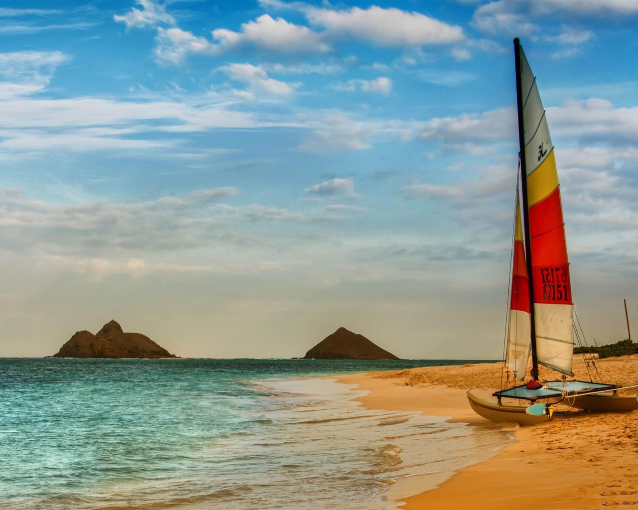 Description: boat on oahu beach-landscape photography wallpaper ...