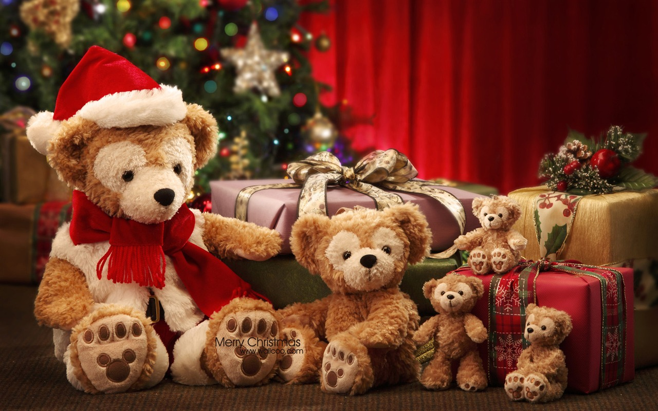 Christmas Teddy Bear Wallpaper: Wallpaper Disney Christmas Gifts