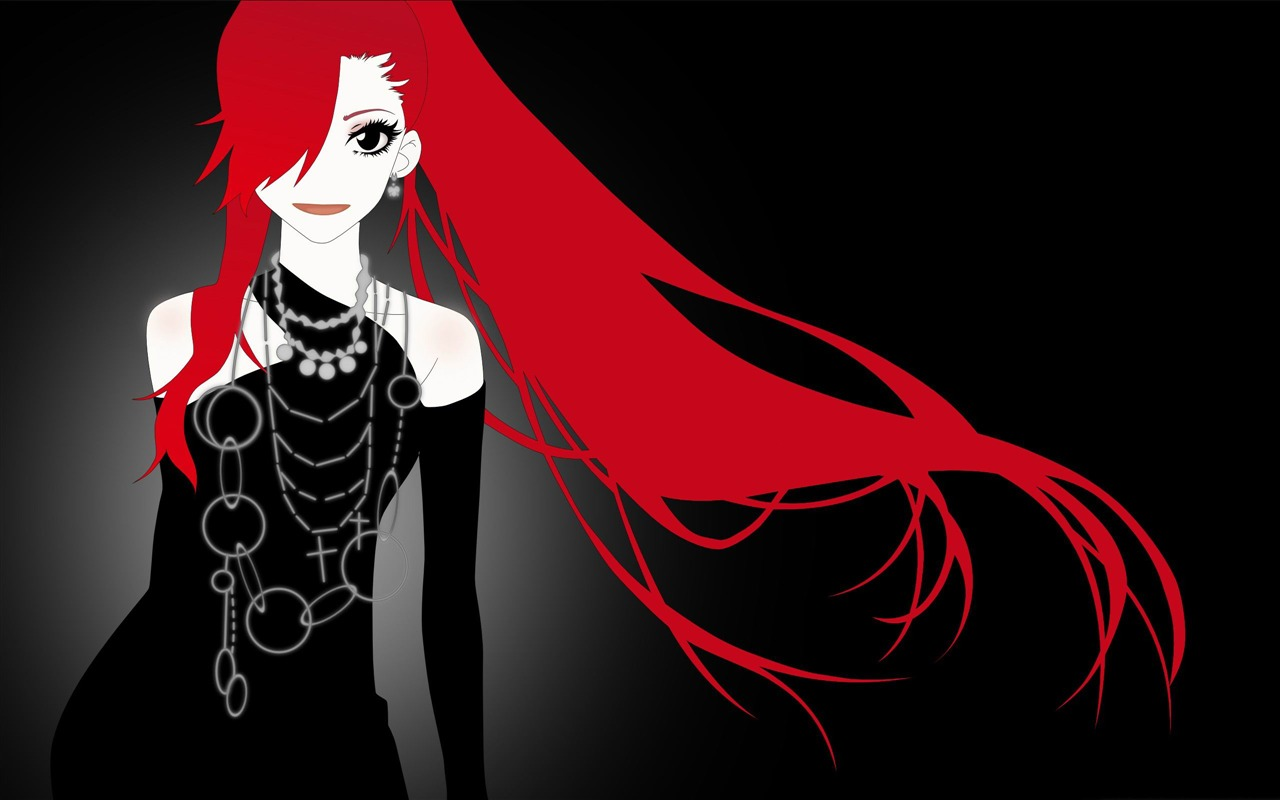 Anime Girl With Red Hair Cartoon Character Design Wallpaper Preview