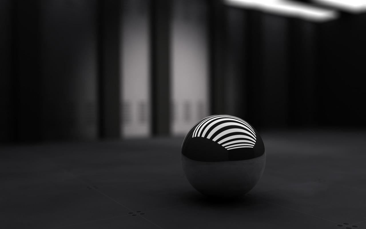 3d Boule Noire Fond Décran Conception Abstraite Aperçu