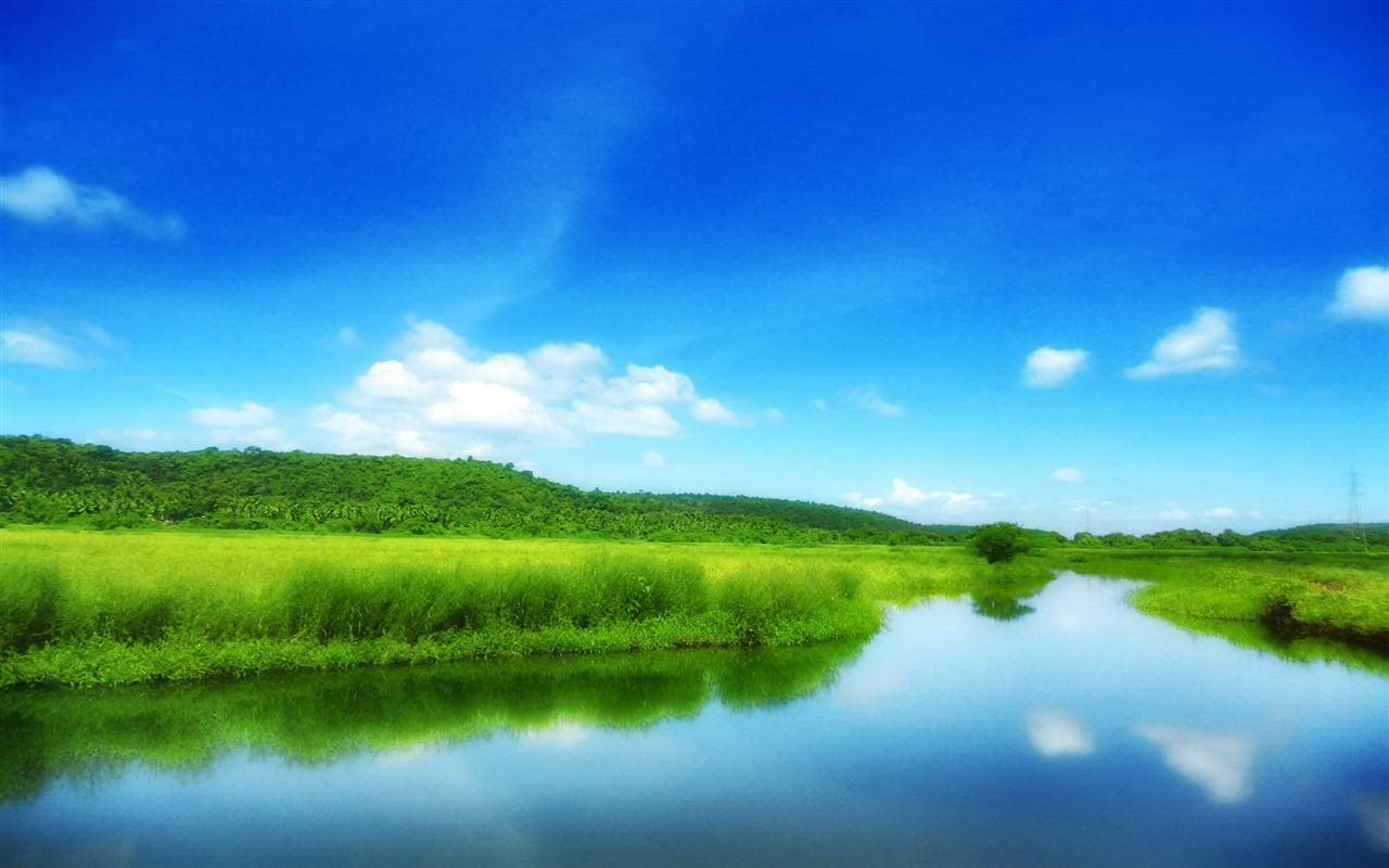 Green Field With Blue Sky-Scenery HD Wallpapers Preview