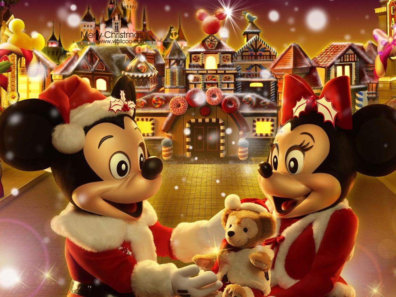 米奇和米妮姜饼人圣诞壁纸童话村