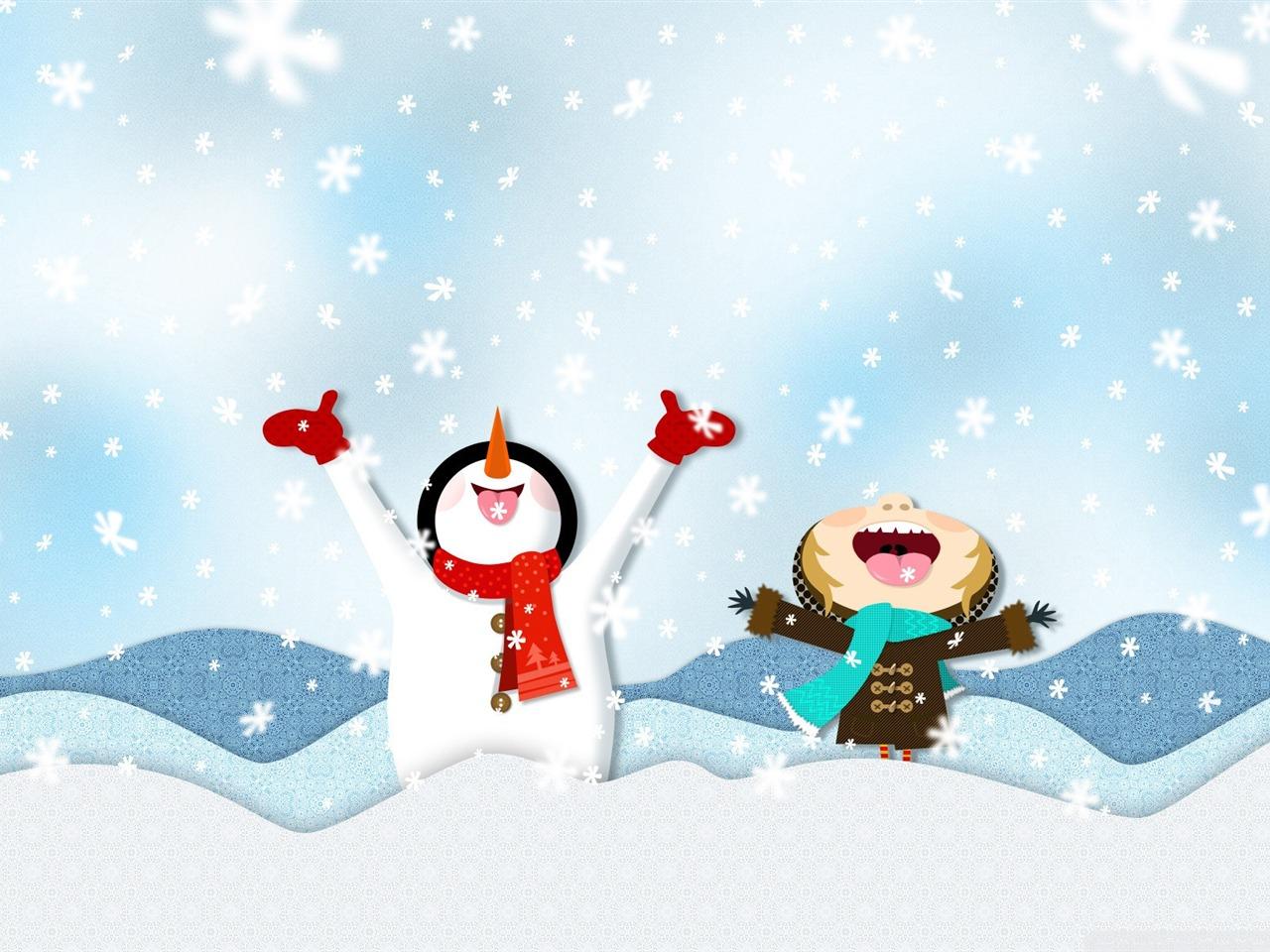 下雪插图 寒冷的冬季风景桌面图片