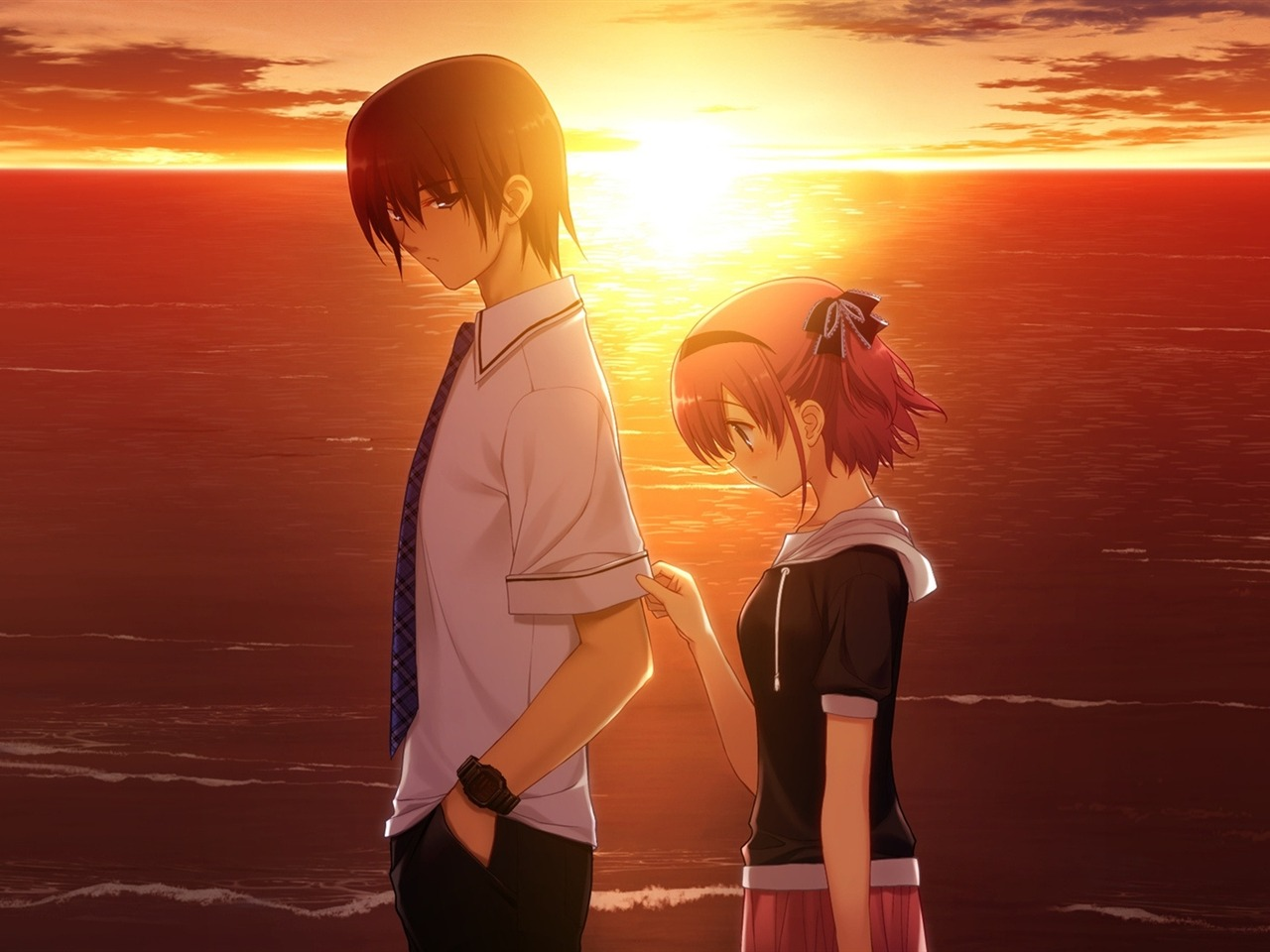 boy girl sad sunset sea-2013 Anime HD Wallpaper Preview
