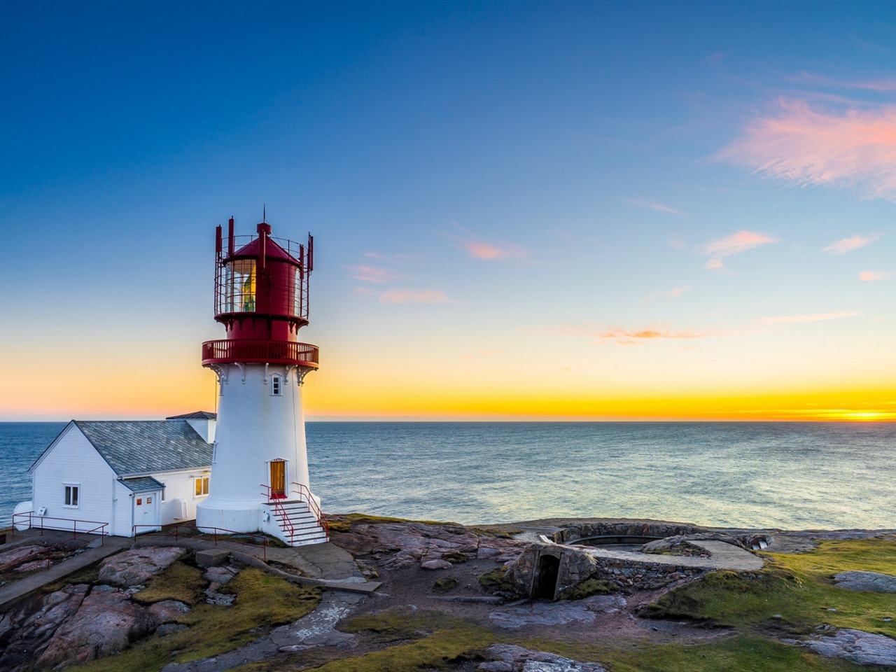 Sunset Sea Lighthouse Norway Lindesnes Scenery Hd