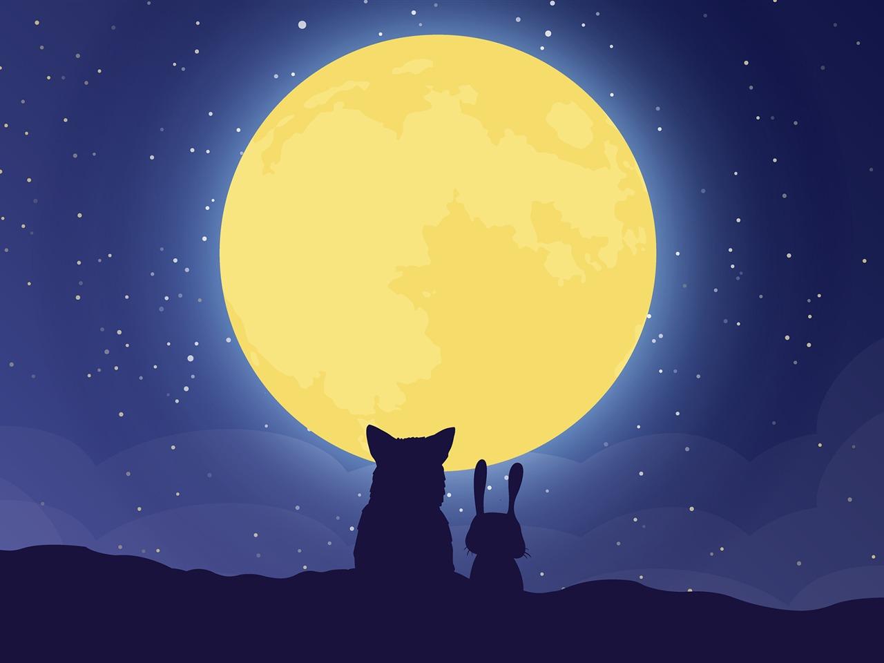 Cartoon Fox Rabbit Full Moon 2017 High Quality Wallpaper