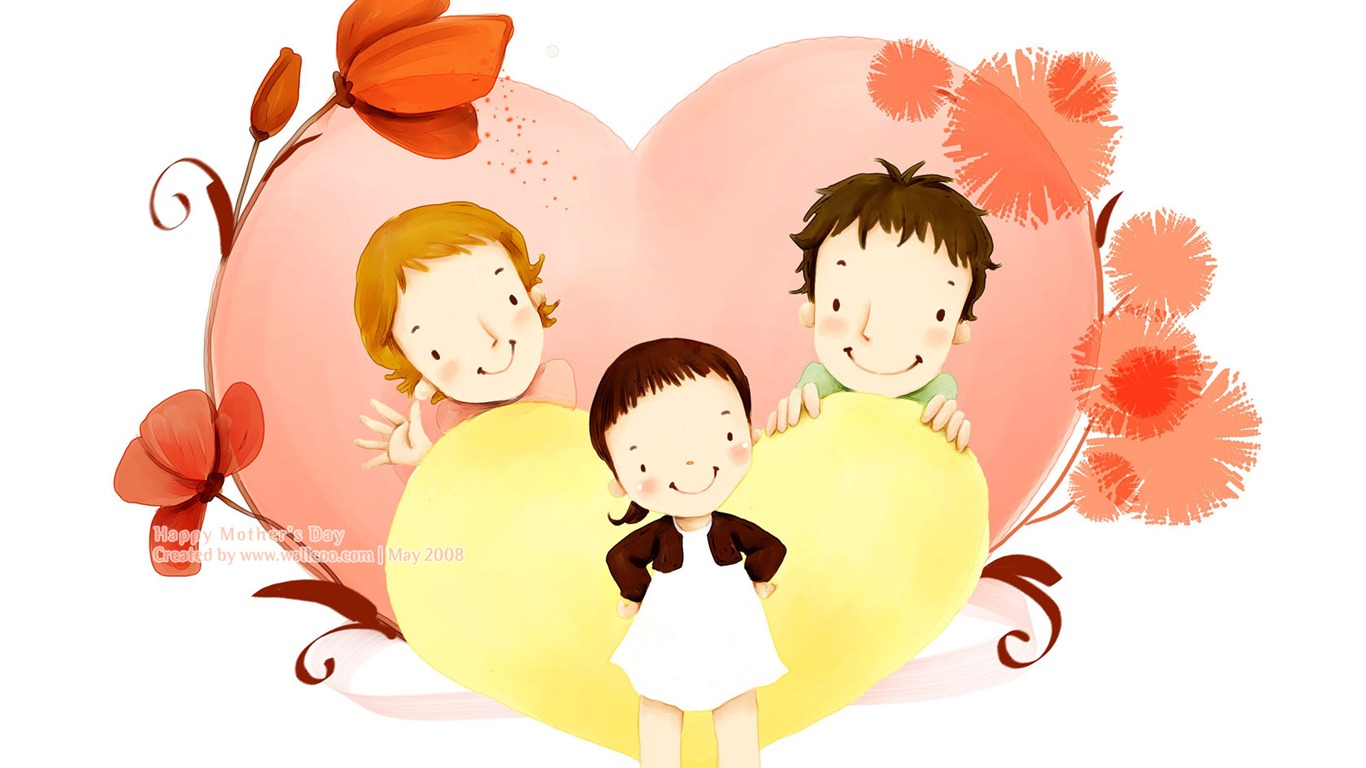 Happy family love - Lovely Art illustration for Mothers day Preview | 10wallpaper.com