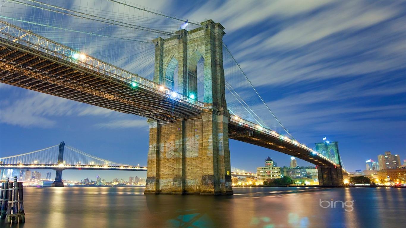 new york city brooklyn bridge wallpaper 1366x768 download. Black Bedroom Furniture Sets. Home Design Ideas