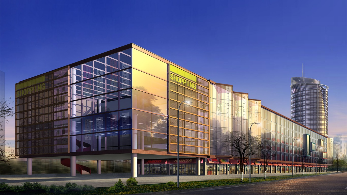 3d Architectural Rendering Of Commercial Shopping Mall 01