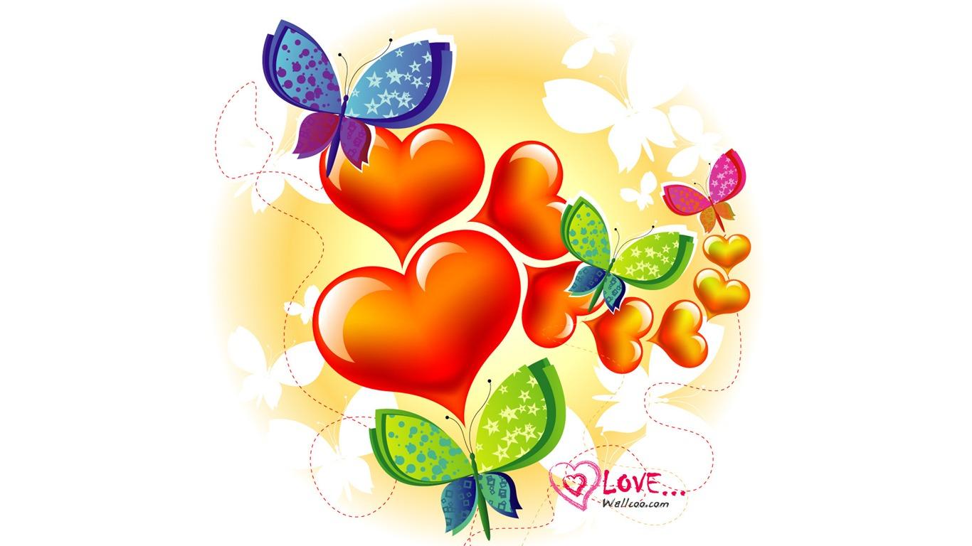 Butterfly Love Valentines Day Wallpaper Illustration Design