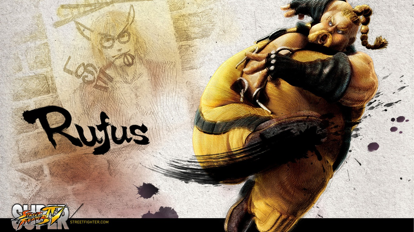 Rufus-Super_Street_Fighter_4_wallpaper_ink_illustration