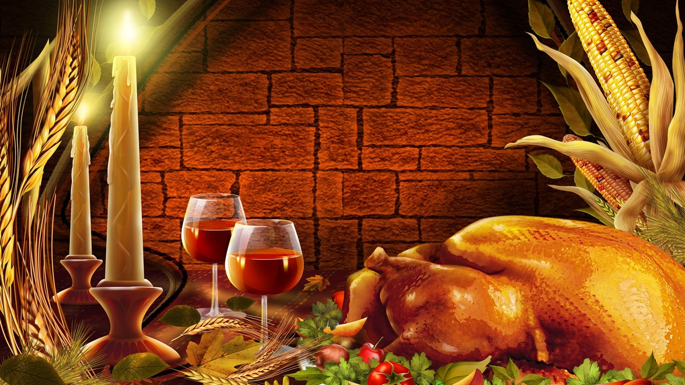 Candlelight dinner  Thanksgiving illustration design wallpaper View