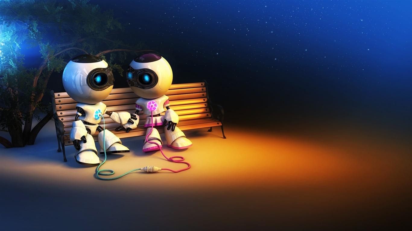 robot love-3d creative design desktop wallpaper preview
