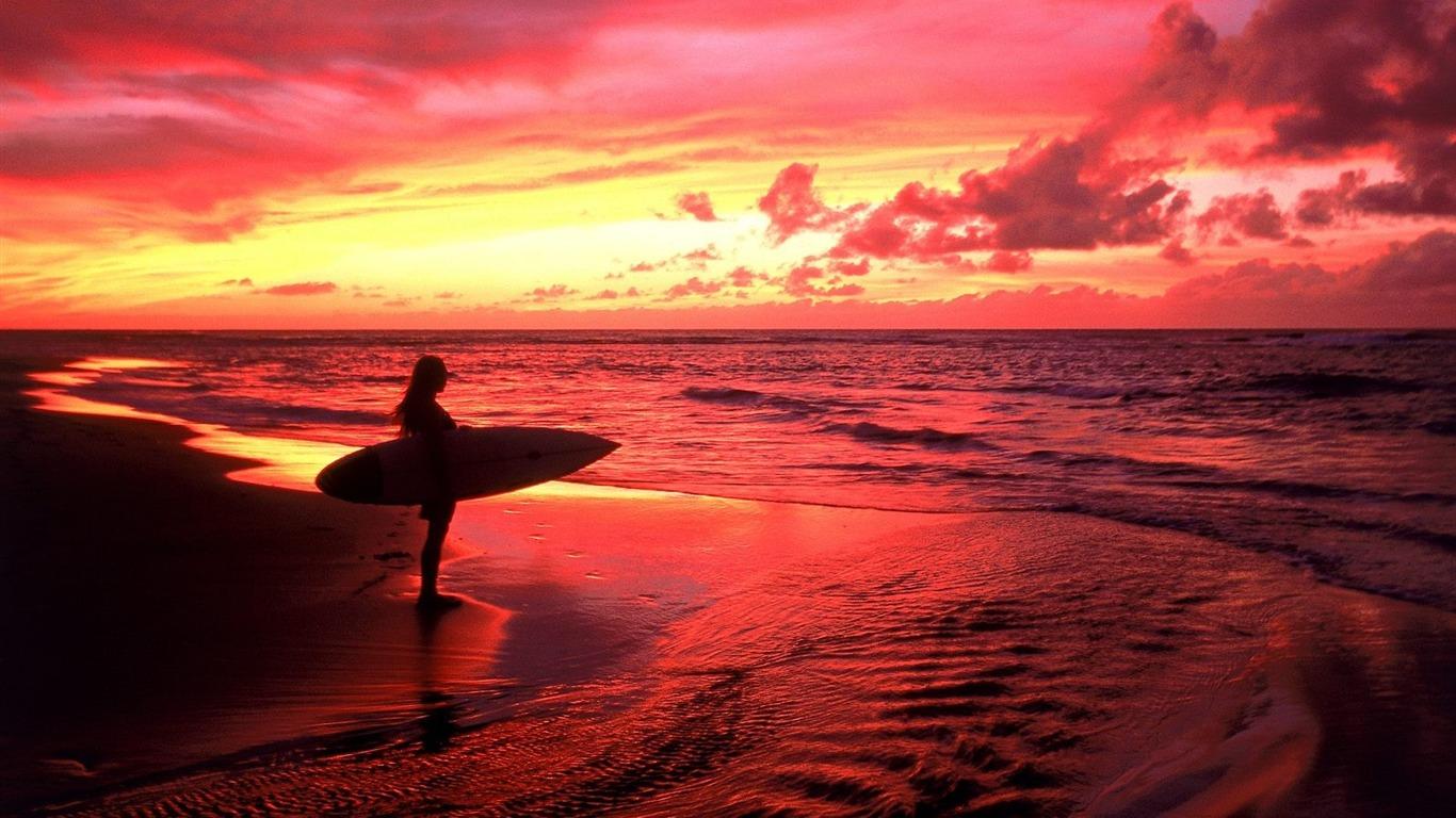 トワイライトハワイでサーファー 写真の壁紙コレクションシリーズ4