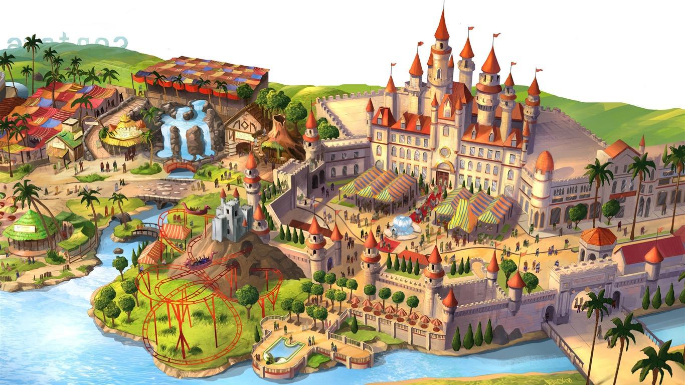 ファンタジーランド ディズニーのキャラクターの作業のデスクトップ