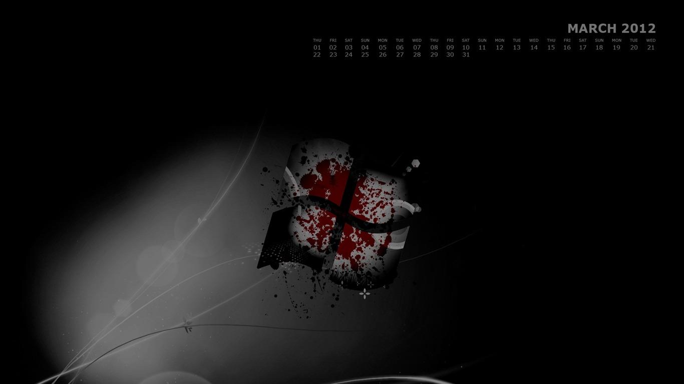 Windows 7-2012年3月カレンダーデスクトップテーマ壁紙-1366x768ダウンロード