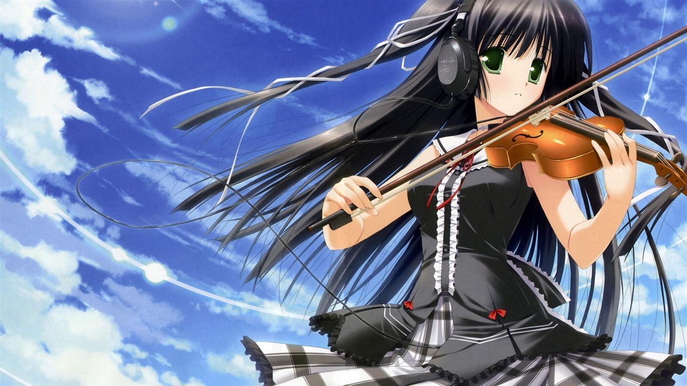 Anime Girl Playing Violin Character Design Desktop Wallpaper Views35663