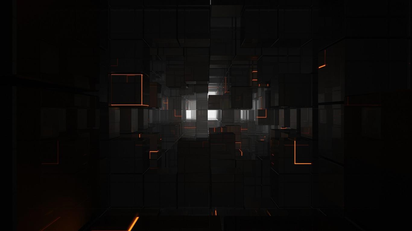 ブラックキューブ 3d創造的な設計のデスクトップ壁紙プレビュー