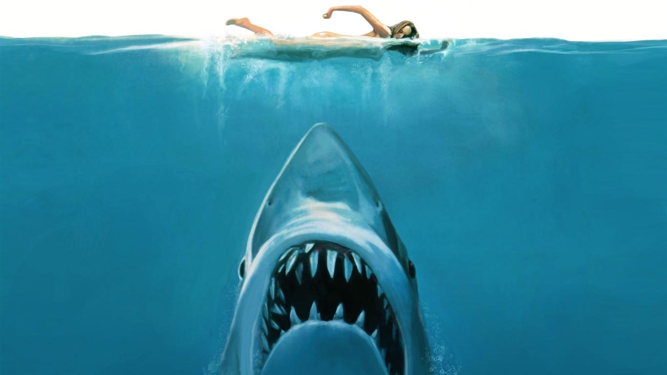 サメの攻撃 すばらしい芸術の絵画壁紙プレビュー 10wallpaper Com