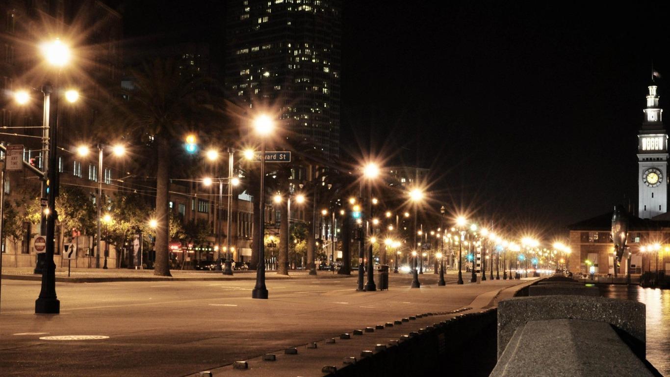 Edificios Street Night Lights Paisaje Urbano Wallpaper