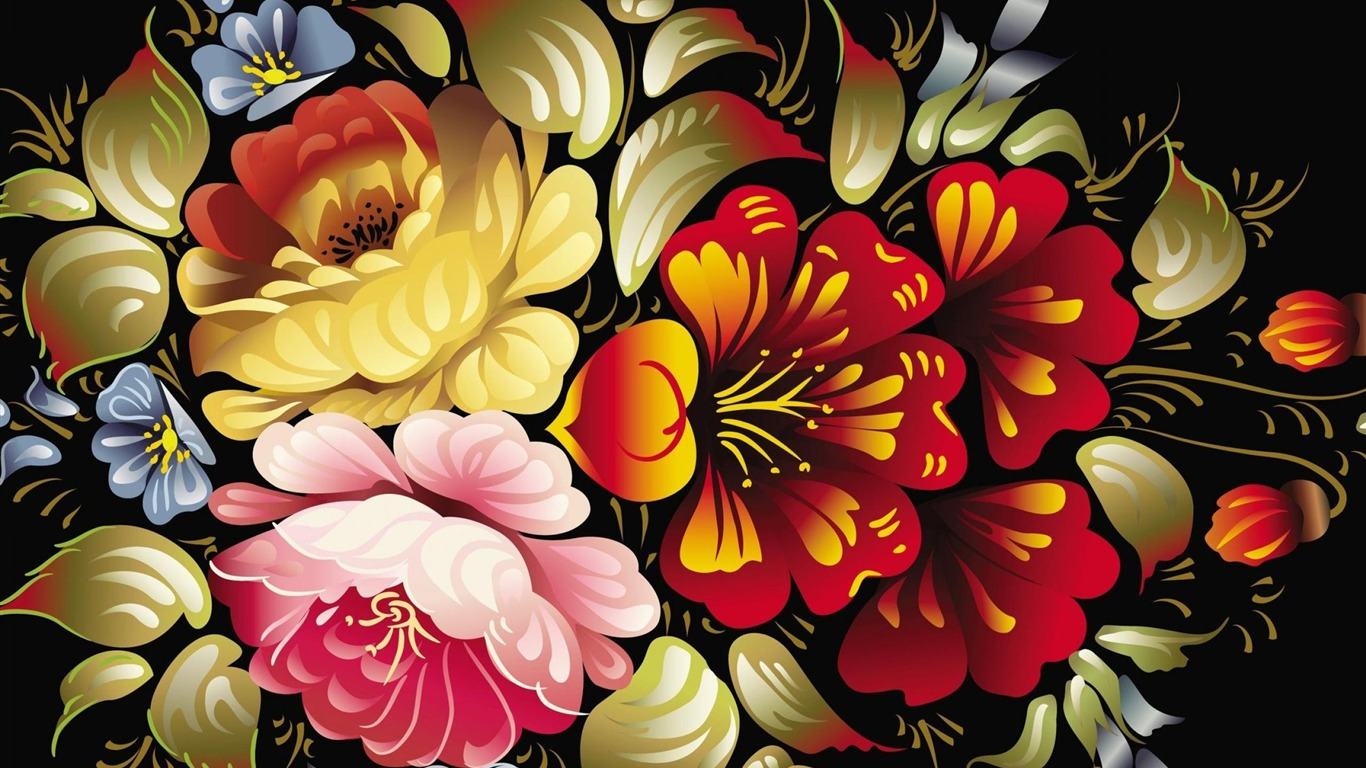Flowers Abstract Art Design Wallpaper Preview