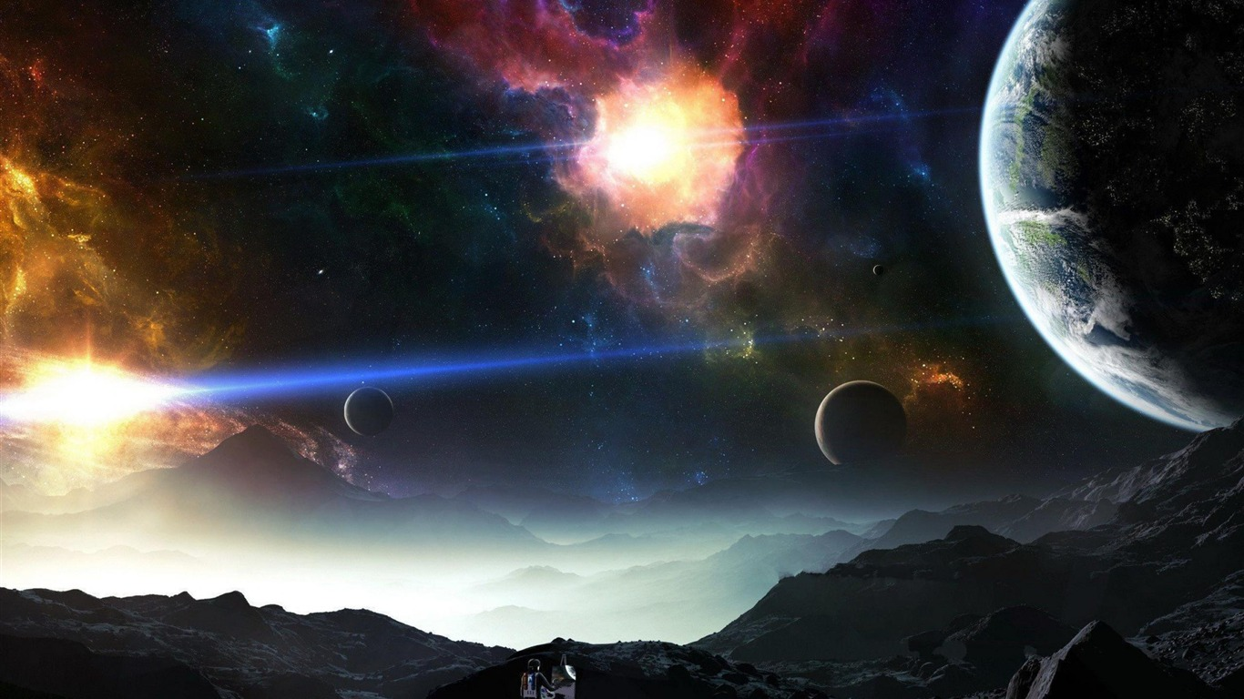 Painting space universe photography wallpaper 1366x768 for Space wallpaper 1366x768