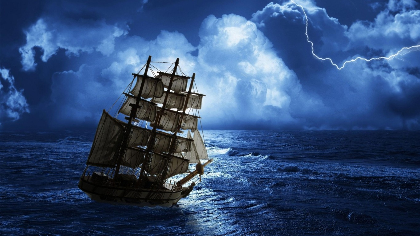 Sailing Ship Storm High Quality Wallpaper Preview