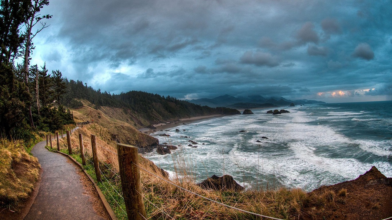 HDR Nature Landscape Clouds Cliff Hill Mountain Path Valley
