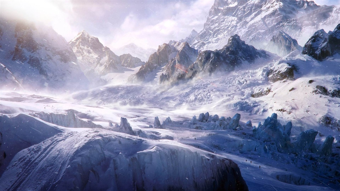 White Snow Mountains Top Winter Scenery Hd Wallpaper Preview