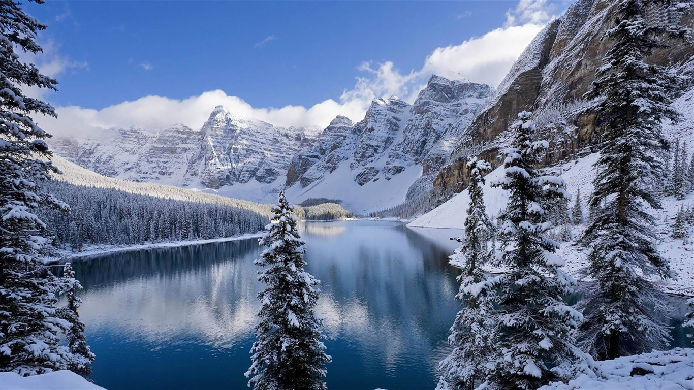 Moraine Lake Banff National Park Winter Scenery Hd Wallpaper
