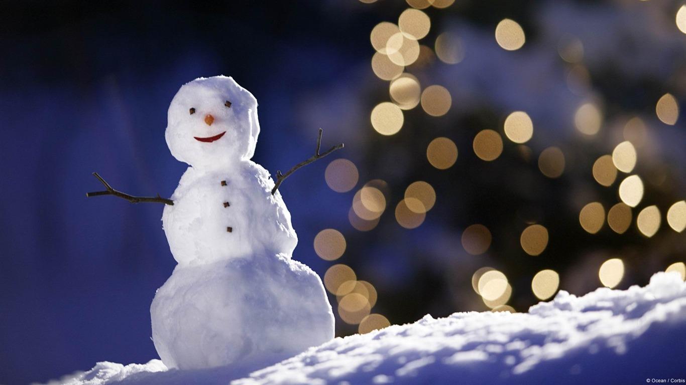 雪だるまと光の点滅 Microsoft Windowsデスクトップの壁紙プレビュー