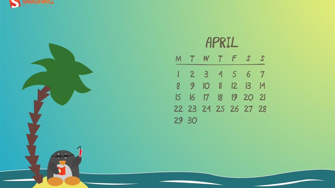Penguin_Beach-April_2013_calendar_desktop_wallpapers2013.4.1