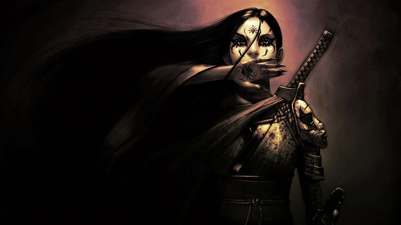 女の子の武士の入れ墨手の剣 ファンタジーデザインのhdの壁紙