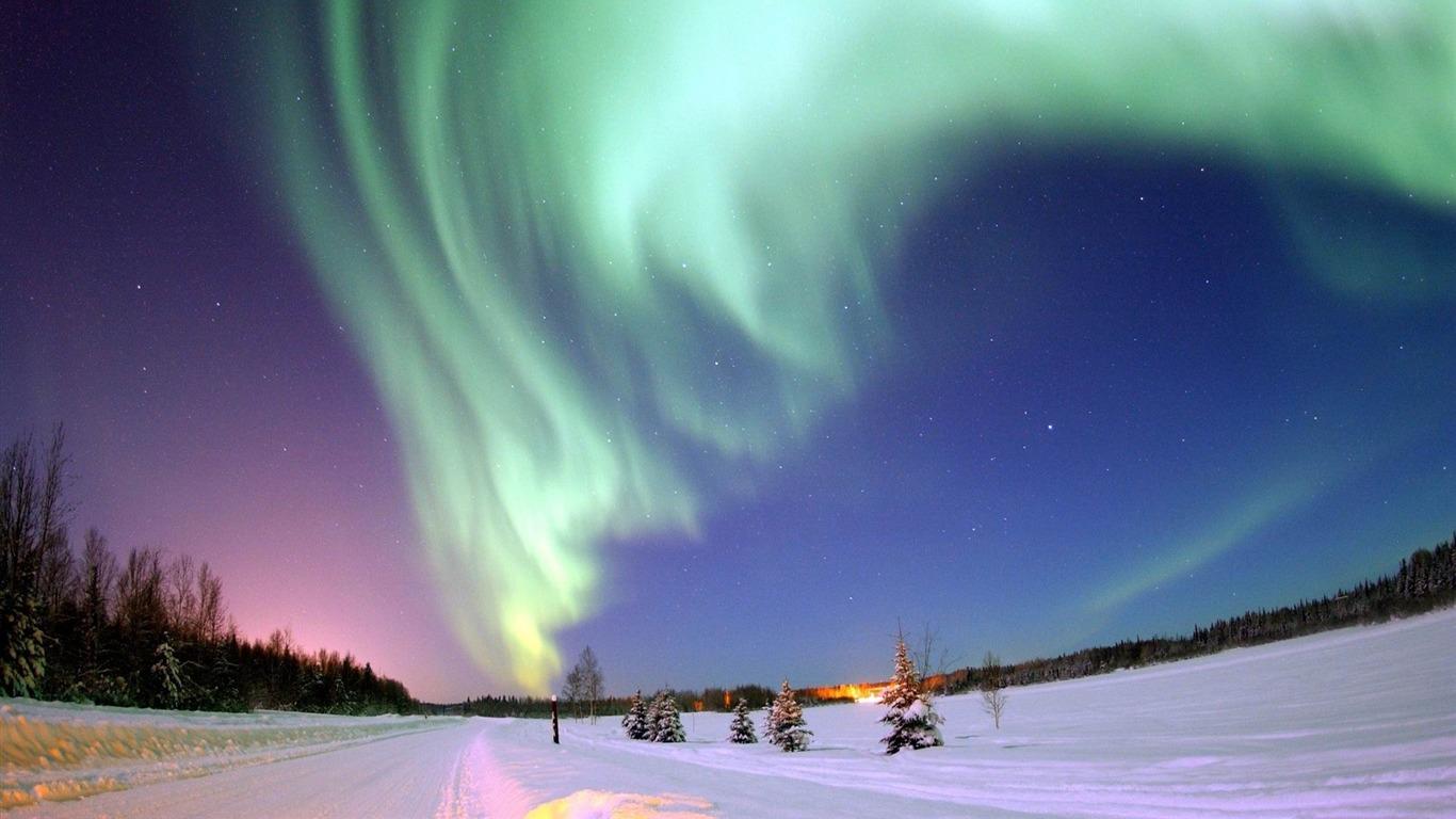Polar Lights Sky Stars North Pole Winter Landscape