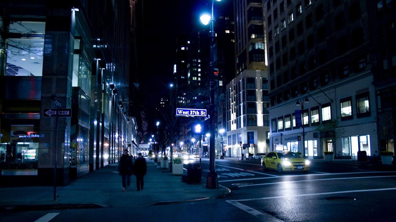 Nyc Rue La Nuit à New York Urbain Photographie Fond Décran