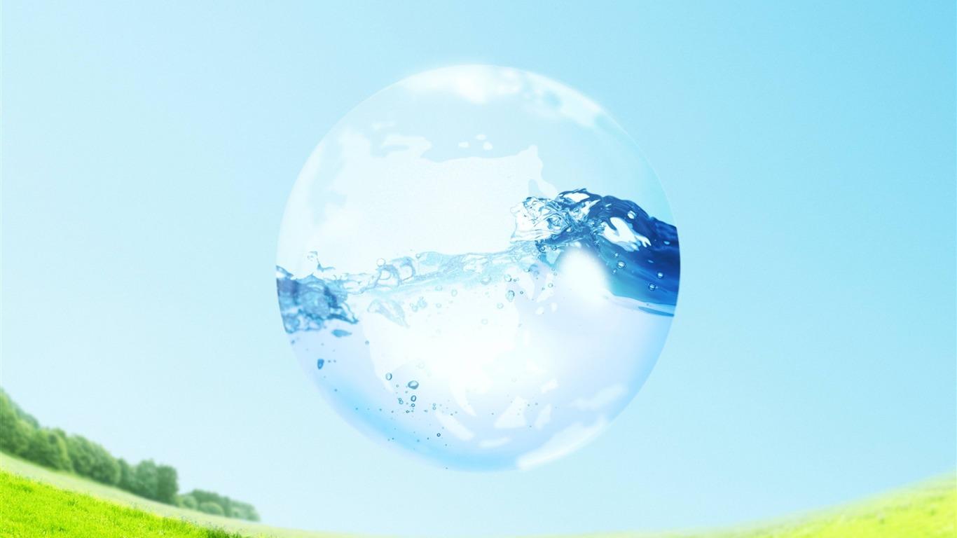 Globo de cristal de agua nature june papel pintado de alta - Papel pintado de los 70 ...