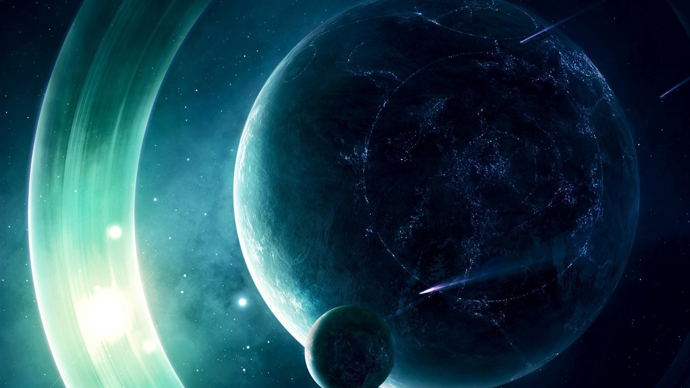 Space planet light space hd wallpaper 1366x768 download for Space wallpaper 1366x768