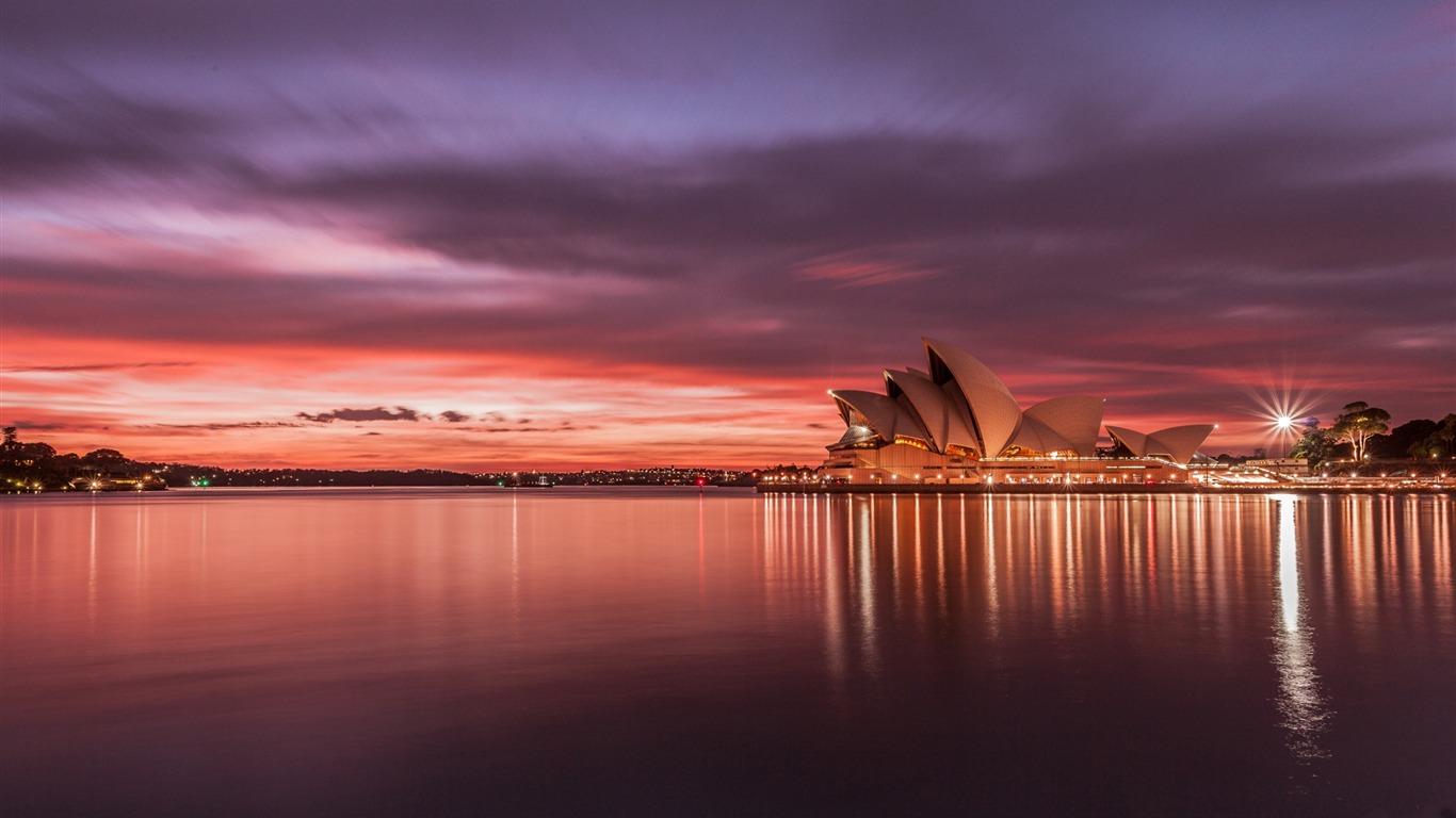 City Australie Opéra De Sydney Coucher Du Soleil Villes