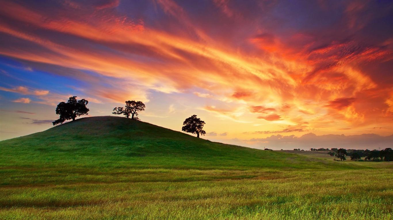 Por Do Sol Atras Da Paisagem Das Montanhas Hd Wallpaper