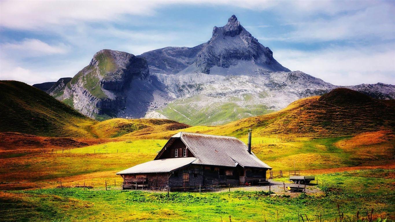 Chalet De Montagne Paysage Hd Fond D Ecran Apercu 10wallpaper Com