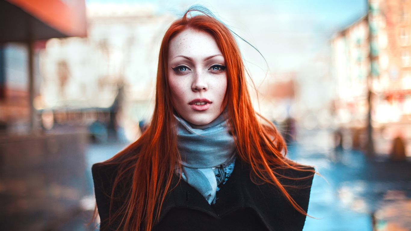 Redhead Girl Look City-Girls foto HD