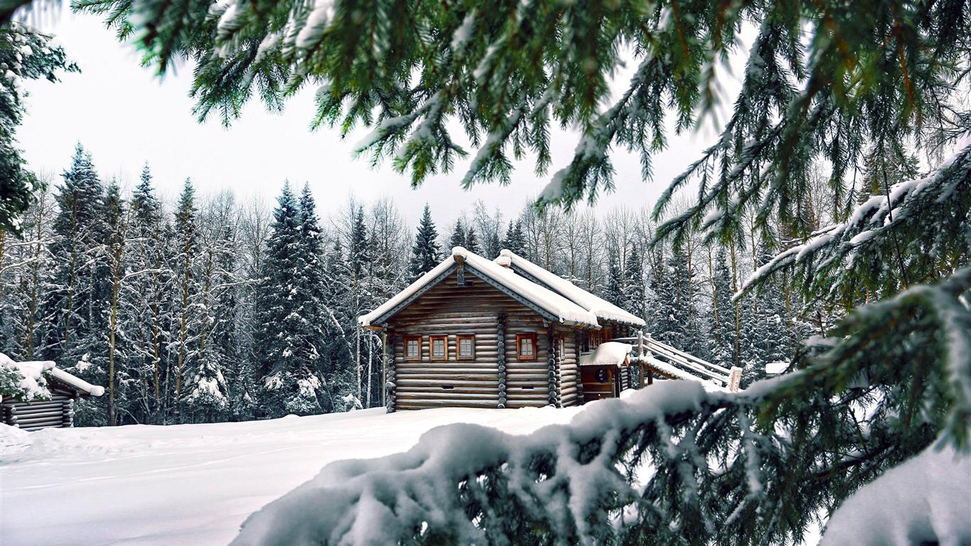 Refuge De Montagne Hiver Paysage Hd Fond D Ecran Apercu