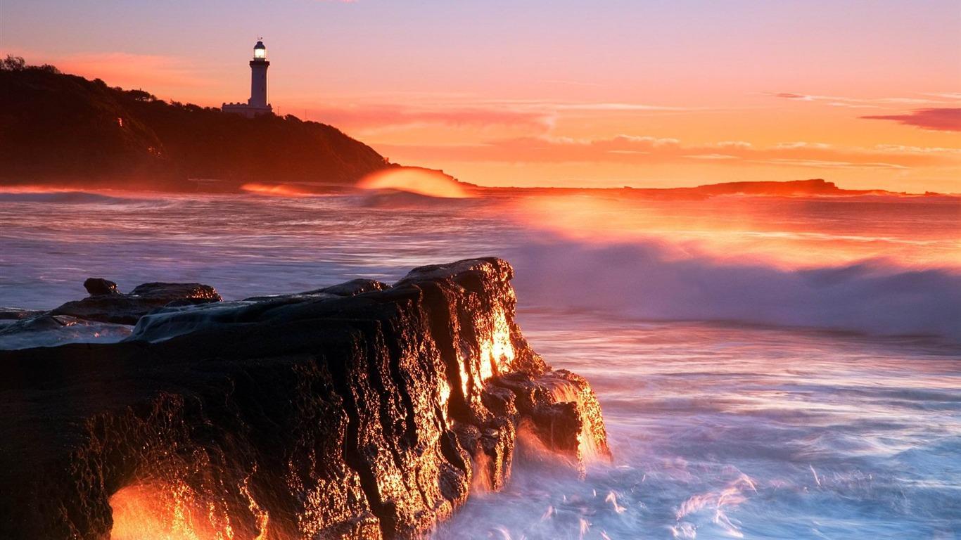 灯台の岩が波をサーフィン 写真壁紙プレビュー 10wallpaper Com