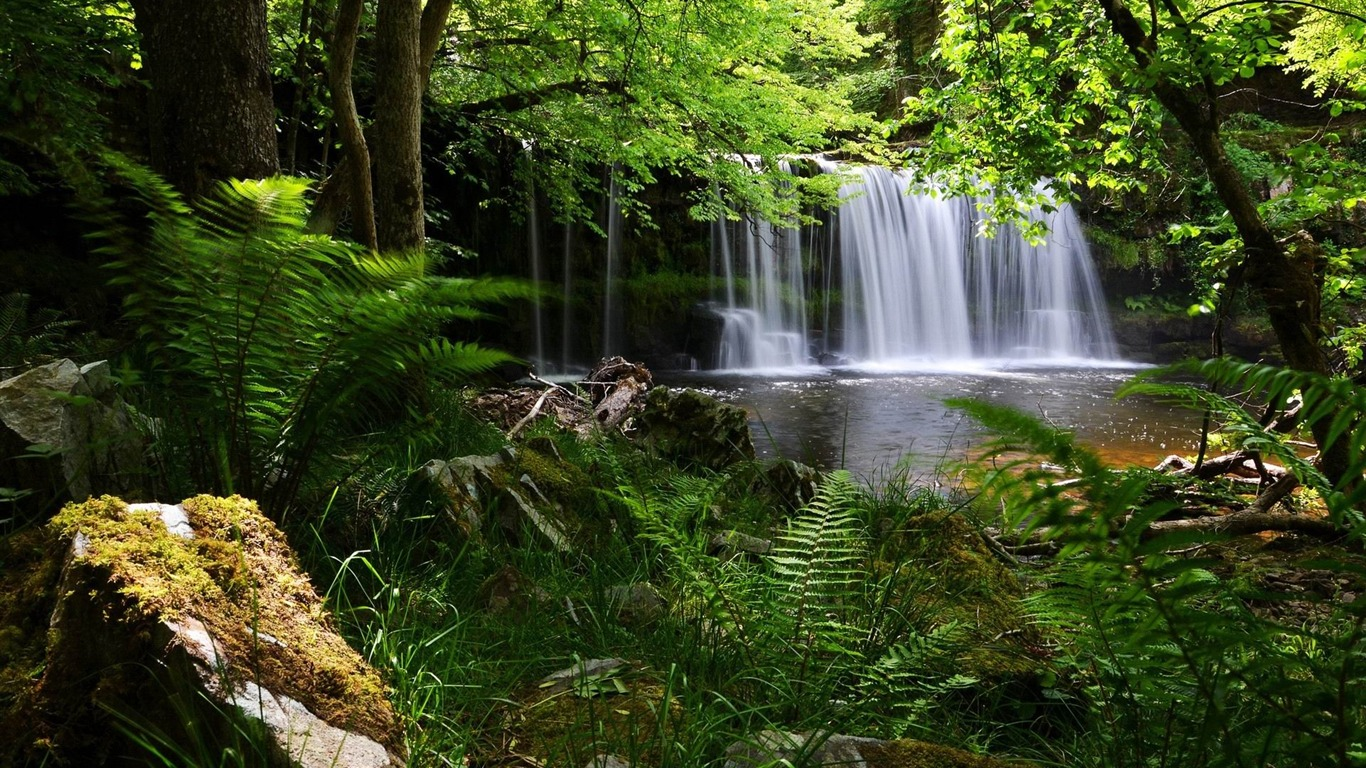 waterfall_flowing_rocks-Photo_Wallpaper